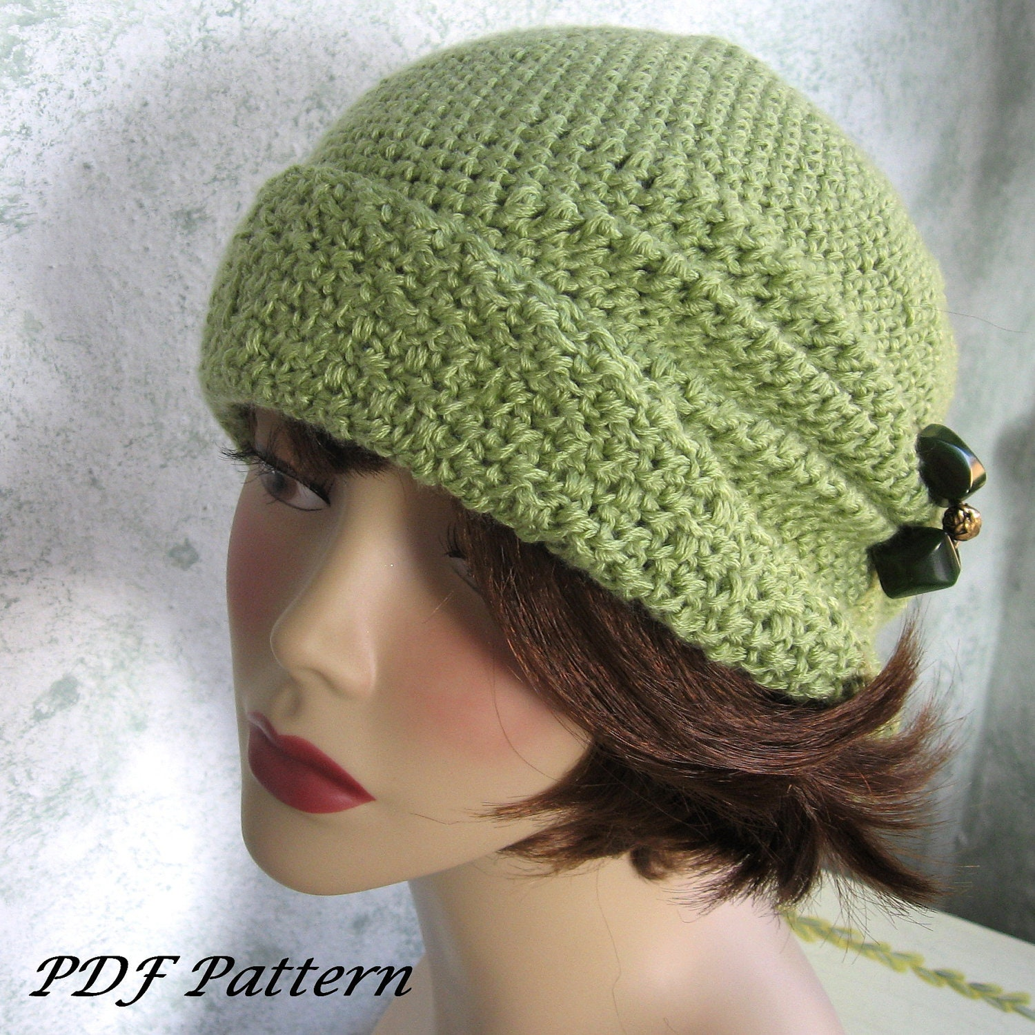 Crochet Pattern Womens Hat : Crochet Pattern Womens FLapper Hat Cloche With Side Pinch