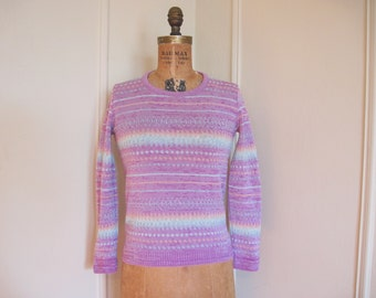vintage 1970s Pink Fair Isle Striped Sweater - size extra small to small, xs/s