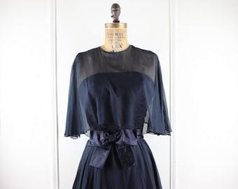 vintage 1960s Black Chiffon Party Dress - size small to medium