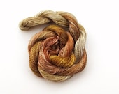 Hand dyed cotton perle 8 embroidery yarn, 30m skein - light brown, rust brown, beige, dark mustard yellow
