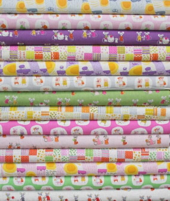 Nursery Versery fat quarter bundle--14 pieces---3-1/2 yards total--Heather Ross for Kokka Fabrics