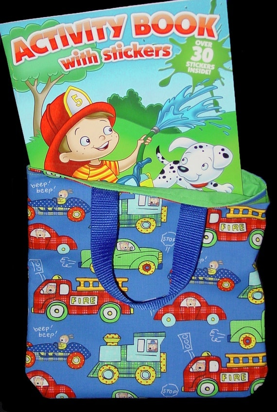 Child Kids Tote Bag, Toddler Tote - Fire Engine, Cars, Trains and Trucks w/ free Coloring Book Big Brother Gift, Childs Birthday Party Favor