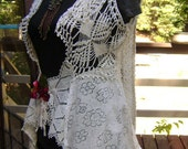 Humming Bird Vintage Doily Vest , with a deep red magnolia and ivory pearl ribbon brooch