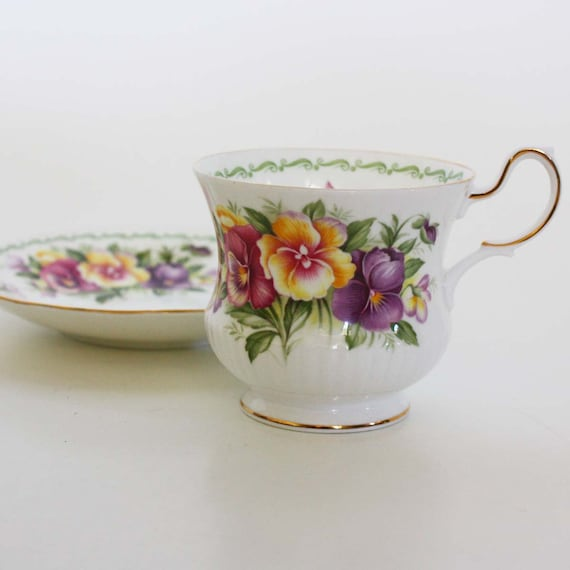 Vintage Special Flowers Cup and Saucer by Rosina China - August Pansy