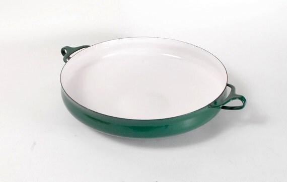 Vintage 1960s DANSK Hunter Green Enamel Paella Dish IHQ Danish Modern