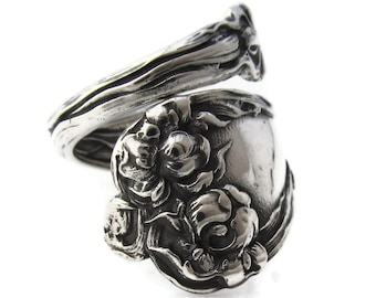 Spoon Ring Majestic Bearded Iris Size 6 To 10 Sterling Silver 1900