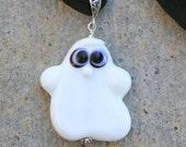 Spooky White Ghost SRA Lampwork DeSIGNeR Silk Ribbon Necklace Halloween Boo Adorable
