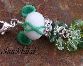 Think N Promote Green Ribbon Awareness Disney Inspired Mickey Minnie Mickey Mouse Style Lampwork DeSIGNeR Purse Charm