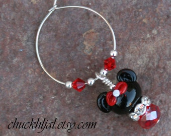 Minnie Mouse Style Disney Inspired DeSIGNeR Wine Charm Unique Gift Idea Celebrate in Style
