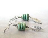 turquoise dangle earrings tribal earrings southwest earrings boho earrings sterling and fine silver