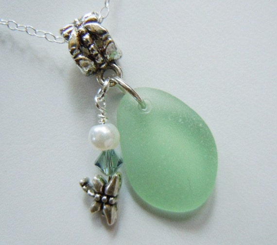 Light Green Necklace Sea Glass Necklace - Beach Glass Jewelry