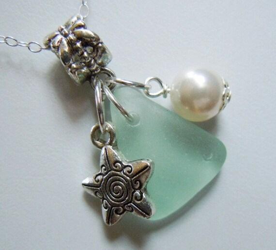 Sea Glass Necklace - Modern Jewelry  Sea Foam Beach Glass Necklace Jewelry