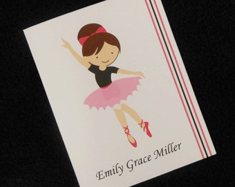 Personalized Note Cards, thank you cards, ballerina design, set of 10 with envelopes