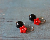 Candy Bubble - lipstick red glass flowers and black onyx  stones on sterling silver hooks