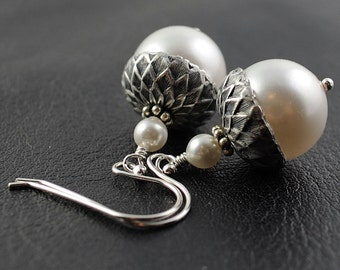 Acorn Earrings White Acorn Drop Earrings Winter Wedding Gift Bridesmaid Earrings Hostess Gift Swarovski Pearls Sterling Silver Earwires