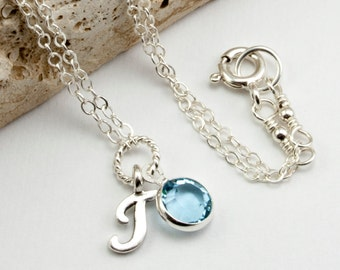 Birthstone Jewelry March Birthstone Necklace - Personalized Jewelry T Initial Necklace - Aquamarine Necklace