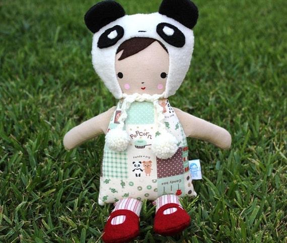 Lil Sister Sprinkles Brown Hair Rag Doll (panda patchwork) with Panda Hat
