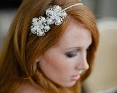 Handmade Bridal Headband Double Rhinestone Flowers with Lots of Sparkle in Ivory Swarovski Pearl