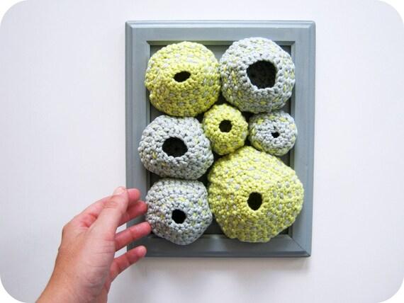 Zen Fiber Art Soft Sculpture in Gray and Yellow - Organic Cotton