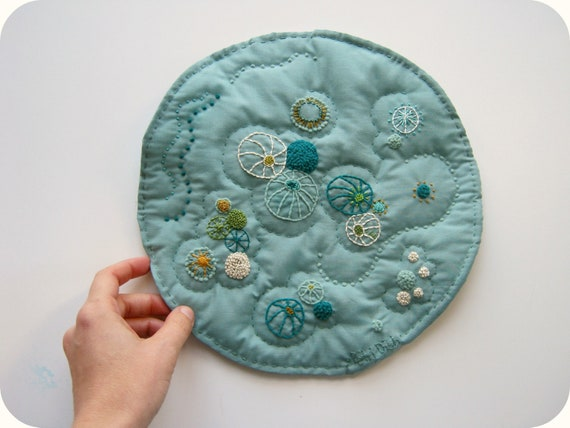 SALE 25% OFF Hand Embroidered Small Art Quilt - Petri Dish