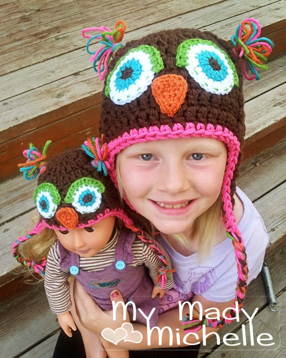 Customize your own crochet Owl hat  for girl and her 18 inch doll 2 matching owl hats