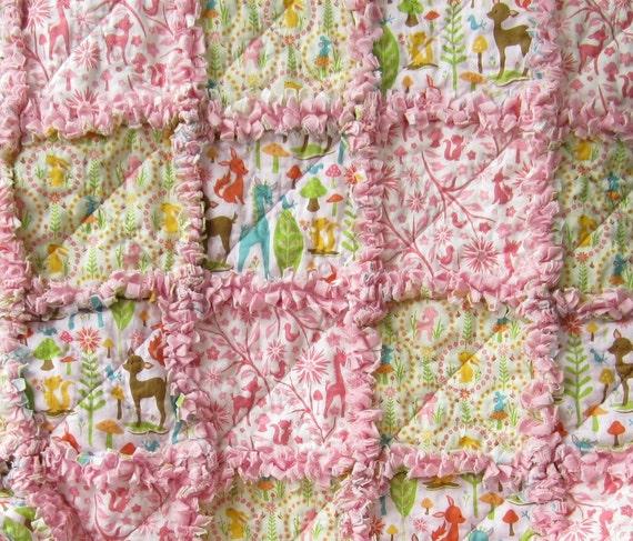 Baby Girl Quilt  Rag Quilt Pink Woodland Animals