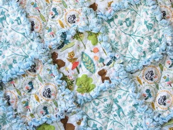 Baby Boy Quilt  Rag Quilt Blue Woodland Animals Owls Bears