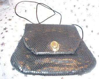 Vintage Black Metal Mesh Handbag Disco Purse