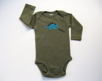 Boys Dinosaur Bodysuit, Dinosaur Snap Crotch Tshirt, Infant Dinosaur Outfit, Baby and Toddler, One Piece or Romper, Hand Painted