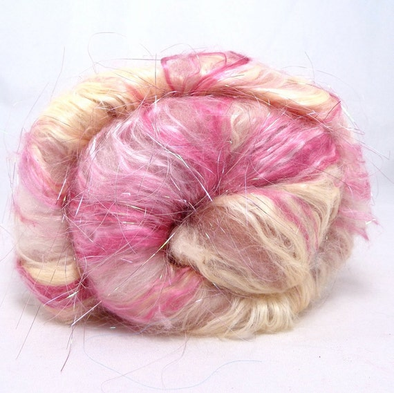Deluxe Smooth Drum Carded Batt for Spinning and Felting- Strawberry Swirl