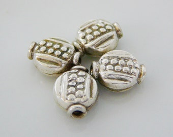 Sterling Silver Bead, Pattern Lentil Shaped dot design beading supplies