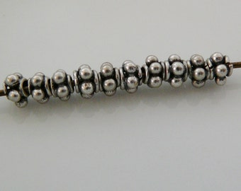 Sterling Silver Bead, oxidized bumpy dot design