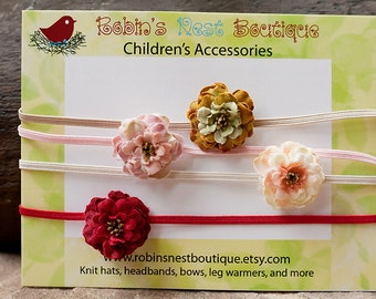 Mini Rose Blossom Headbands-newborn to adult-Set of 4-red, pink, peach, and golden brown rose blossoms-Photography Prop
