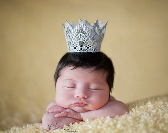 Vintage Inspired Silver Lace Crown/Tiara newborn, baby or child photography prop/birthday accessory/Keepsake
