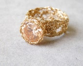 Champagne CZ Ring, Crochet Gold Wire, Ready to Ship Size 6.5