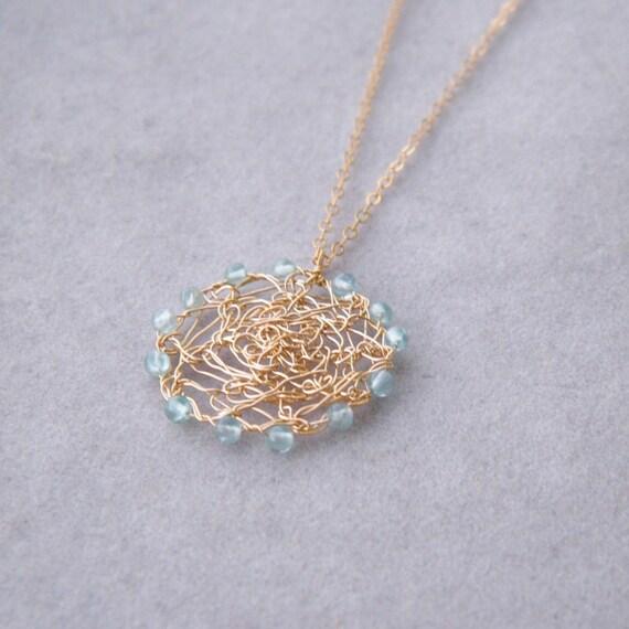 Apatite Necklace, Crochet Wire Necklace, 14k Gold Filled Necklace, Crochet Gold Wire