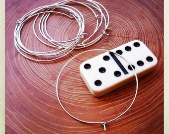 silver hoops earwire 45mm - 10 pieces - destash