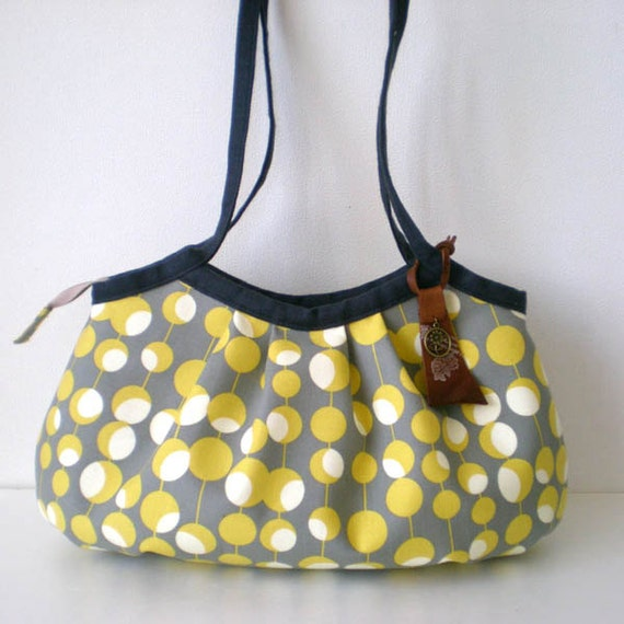 Zippered Mini granny bag, Flower dots Yellow and grey