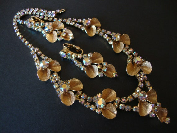 1950's Aurora Borealis Rhinestone and Gold Tone Choker Necklace and Earrings Demi Parure