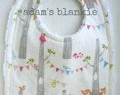 ORGANIC Birch Stripes Bib - Bird, Fox, Owl Bunting - Baby Boy Girl - For the Mod, Fashionable Baby - Chenille and Pearl Snap