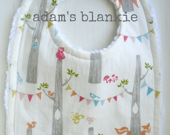ORGANIC Birch Stripes Bib - Bird, Fox, Owl Bunting - Baby Boy Girl - For the Mod, Fashionable Baby - Chenille and Pearl Snap