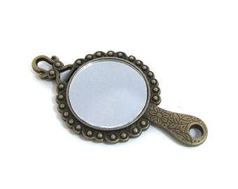 Antiqued Brass 70mm x 35mm Framed Mirror Pendant/Connector, 1059-46