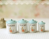 Dollhouse Miniature Kitchen Accessories- French Kitchen Canisters in 1/12 Scale