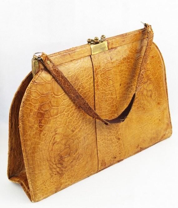 Vintage Large Alligator Handbag Purse