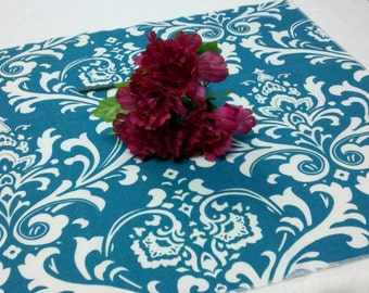 """TABLE SQUARE Turquoise teal and White Damask 20""""  Table Squares osborne Centerpiece Square or Any Print in Shop"""