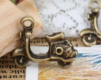 7pcs 18x10mm antique bronze scooter charms pendants (J436)