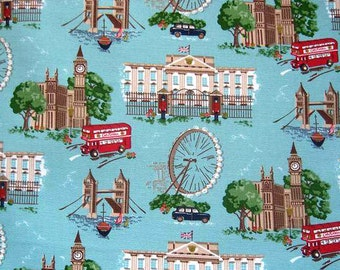 1839 - Cath Kidston London (Aqua Blue) Cotton Canvas Fabric - 57 Inch (Width) x 1/2 Yard (Length)