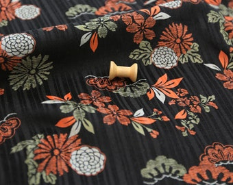 3114 - Japanese Cherry Blossom Chrysanthemum Cotton Thin Corduroy Fabric - 43 Inch (Width) x 1/2 Yard (Length)