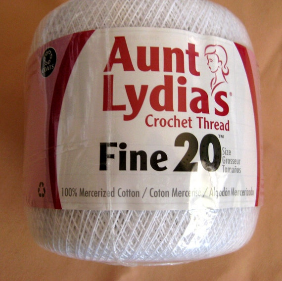 Size 20 crochet thread, Aunt Lydias Fine crochet thread, white cotton thread, mercerized cotton, vintage doily thread