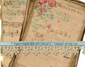 Instant Download  Pretty Paper Pack No. 51 -  Three Gorgeous Papers - Printable Digital Sheets - Download - Crafts, Scrapbooking and More